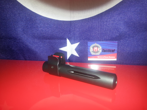 Ruger Mini 14 Steel 580 Series Slip on Flash Hider with a Fiber Optic Sight