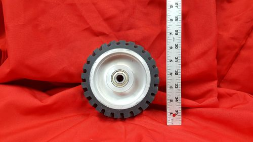 "6"" x 2"" Serrated Rubber Contact Wheel with 1/2"" Bearings for 2x72 Grinder"