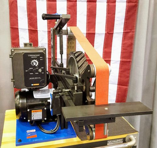 "AMK-77 2X72 Belt Grinder, 1.5hp, Variable Speed VFD, 12"" wheel"
