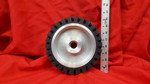 "8"" x 2"" Serrated Rubber Contact Wheel with 1/2"" Bearings for 2x72 Grinder"